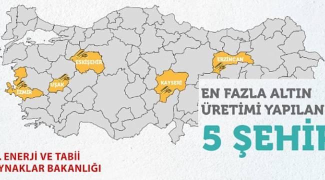 Türkiye'de en fazla altın üretilen ilk 5 il!