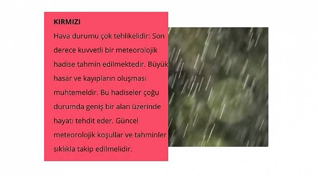 Antalya için: KIRMIZI UYARI