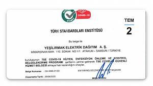 TSE Covid-19 Güvenli Hizmet Belgesi' alan ilk elektrik dağıtım şirketi oldu!